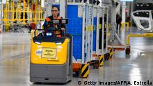 A BMW's employee is pictured in a guided visit during the inauguration of the new BMW car production plant in San Luis Potosi, Mexico, on June 6, 2019. (Photo by ALFREDO ESTRELLA / AFP) (Photo credit should read ALFREDO ESTRELLA/AFP/Getty Images)