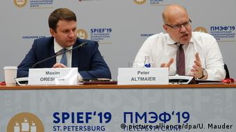 Петер Альтмайер и Максим Орешкин на экономическом форуме в Санкт-Петербурге