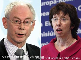 Belgian Prime Minister Herman Van Rompuy, left, and Catherine Ashton, right