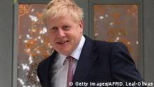 Conservative MP Boris Johnson leaves a house in London on June 7, 2019. - Boris Johnson, considered the frontrunner to become Britain's next prime minister, is Friday challenging a private prosecution bid accusing him of misconduct in public office over the claim that Britain sends £350 million ($440 million, 400 million euros) a week to the European Union. (Photo by Daniel LEAL-OLIVAS / AFP) (Photo credit should read DANIEL LEAL-OLIVAS/AFP/Getty Images)
