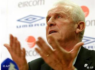 Ireland's soccer team manger Giovanni Trapattoni holds a press conference at the Football Association of Ireland headquarters in Abbottstown, Dublin Thursday Nov. 19, 2009. Ireland failed to qualify for the 2010 World Cup after a controversial goal scored against them by France on Wednesday ended their hopes for qualification. (AP Photo/ Julien Behal/PA) ** UNITED KINGDOM OUT NO SALES NO ARCHIVE **