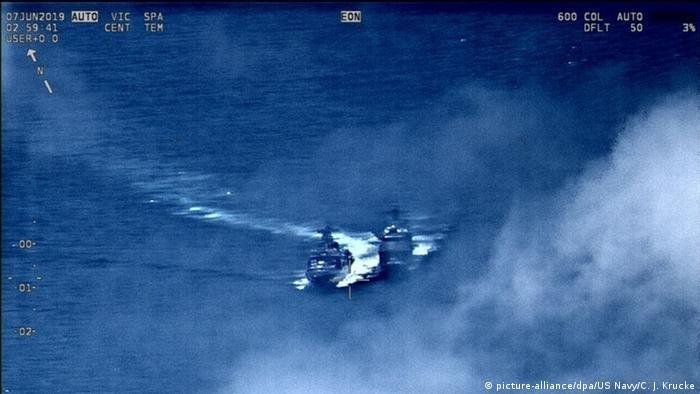 Quase colisão de navios americano e russo no mar da China Oriental
