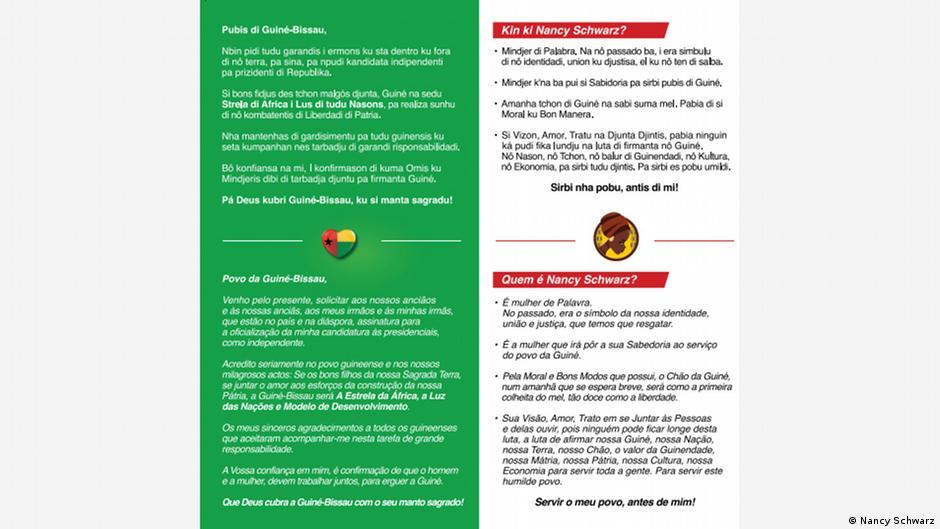 Nancy Schwarz Präsidentschaftskandidatin in Guinea-Bissau Wahlkampagne