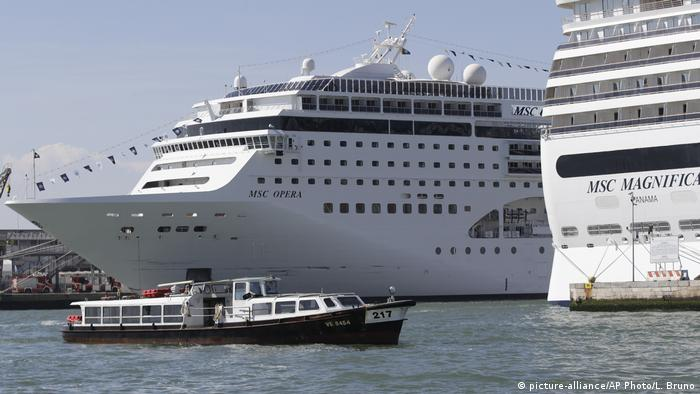 The MSC Opera cruise ship moored in Venice, Italy
