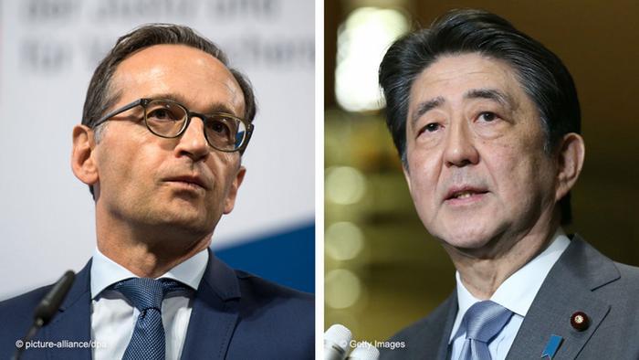 هایکو ماس، وزیر امور خارجه آلمان (چپ) و شینزو آبه، نخست وزیر ژاپن