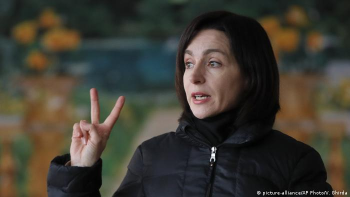 Maia Sandu, leader of the ACUM opposition alliance, speaks to people during an electoral meeting in Loganesti, Moldova, Friday, Feb. 22, 2019, ahead of parliamentary elections taking place on Feb. 24.