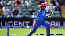 TAUNTON, ENGLAND - JUNE 08: Noor Ali Zadran of Afghanistan bats during the Group Stage match of the ICC Cricket World Cup 2019 between Afghanistan and New Zealand at The County Ground on June 08, 2019 in Taunton, England. (Photo by Alex Davidson/Getty Images)
