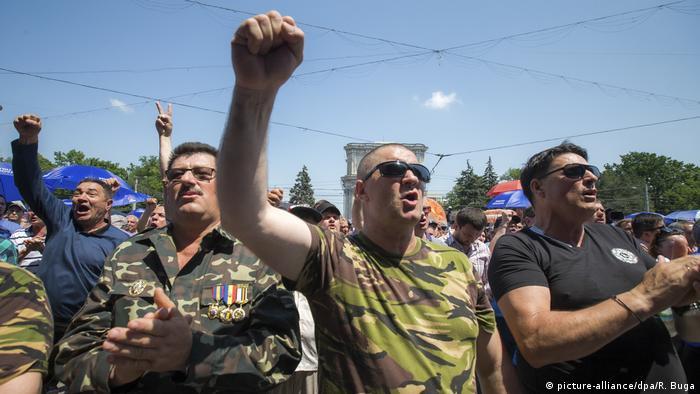 Protesters in Chisinau, Moldova
