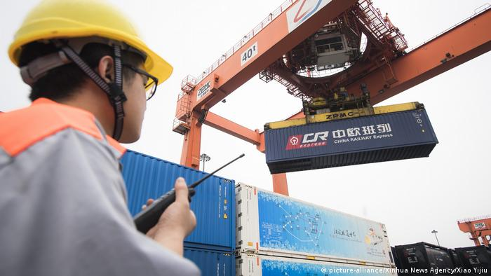 Unloading containers from a train in Wuhan which came from Hamburg, Germany