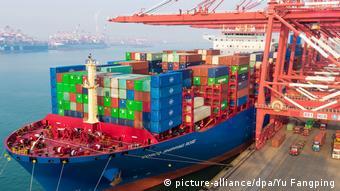 A cargo ship docks at Qingdao, China