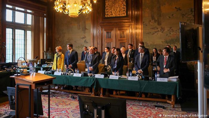 Украинская делегация в зале суда