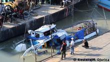 Ungarn Budapest Unglück Touristenboot | Bergung des Wracks