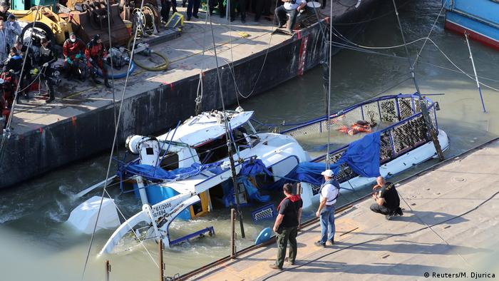 A portion of the The Mermaid, a Hungarian boat which sank in the Danube river near Margaret bridge (Reuters/M. Djurica)
