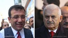 Bildkombo Istanbuler Bürgermeisterkandidaten Binali Yildirim und Ekrem Imamoglu