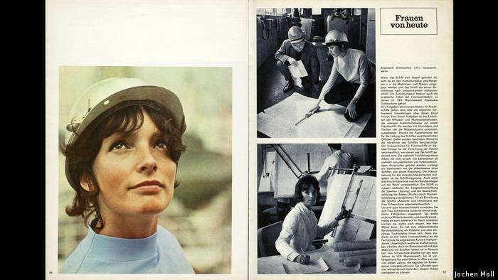 Ausschnitt aus dem DDR-Magazin Sibylle zeigt eine Frau mit Schutzhelm und einem Artikel über die Frauen von heute (Jochen Moll)
