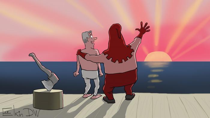 Карикатура - палач держит одну руку на плече человека, похожего на журналиста Ивана Голунова, другой показывает на восходящее солнце. Топор воткнут в пень.