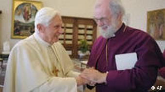 Pope Benedict with Rowan Williams, the Archbishop of Canterbury