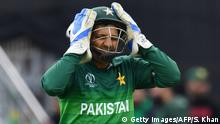 Pakistan's captain Sarfaraz Ahmed reacts between overs during the 2019 Cricket World Cup group stage match between Australia and Pakistan at The County Ground in Taunton, southwest England, on June 12, 2019. (Photo by Saeed KHAN / AFP) / RESTRICTED TO EDITORIAL USE (Photo credit should read SAEED KHAN/AFP/Getty Images)