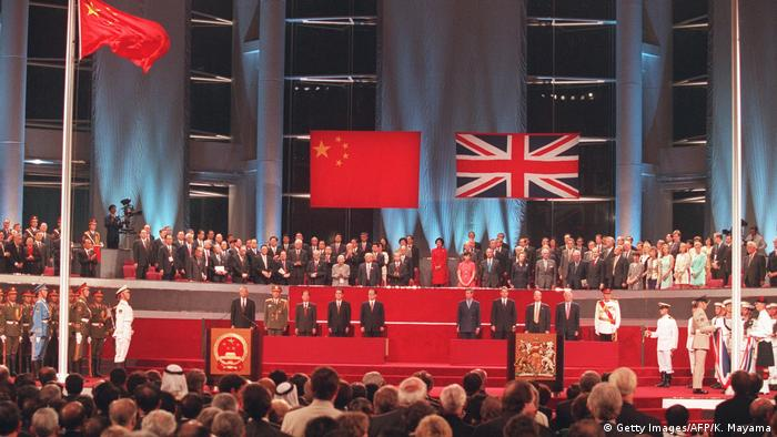A general view of the handover ceremony 01 July showing the Chinese flag (L) flying after the Union Jack was lowered