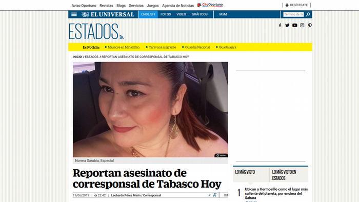 Norma Sarabia, corresponsal del semanario Chontalpa, fue asesinada en junio pasado en Tabasco.