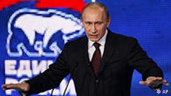 Russian Prime Minister Vladimir Putin speaks at a congress of the United Russia party