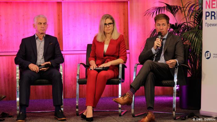 Виктор Ануфриев, Любовь Соболь и Илья Новиков на церемонии присуждения премии Бориса Немцова