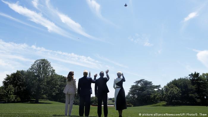 US-Präsident Trump begrüßt den polnischen Präsidenten Duda im Weißen Haus in Washington (picture-alliance/Newscom/UPI Photo/S. Thew)