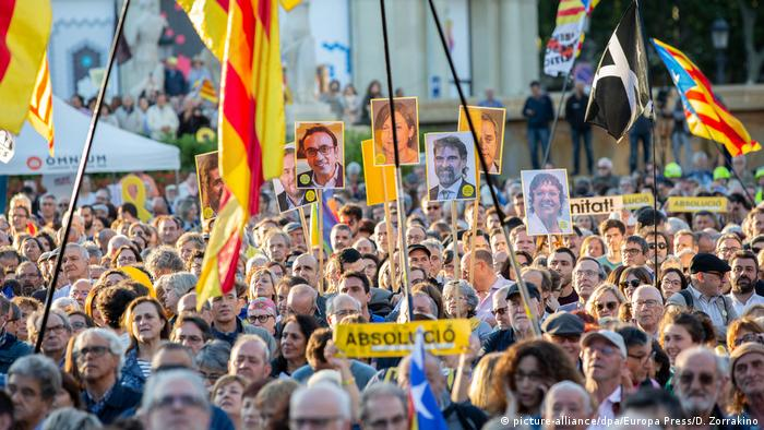 Protesters in Barcelona had watched the court statements