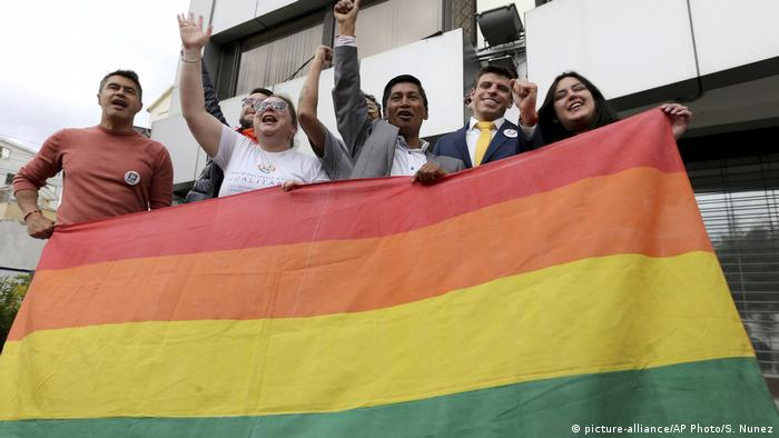 Efrain Soria celebrates with other leaders of the gay community, Quito, Ecuador