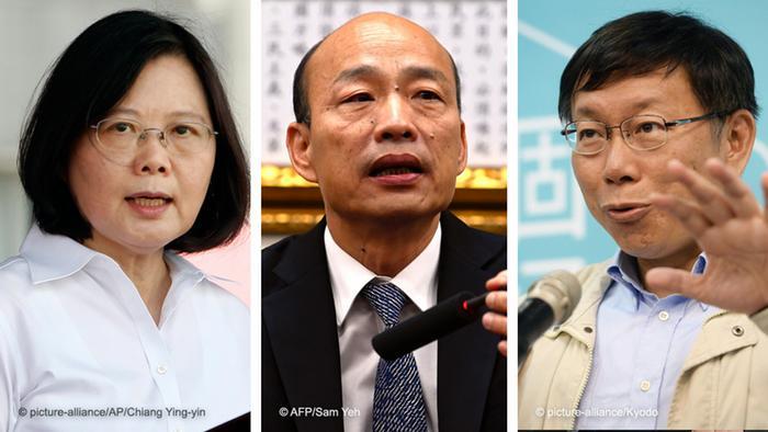 Bildkombo Taiwan Präsidentin Tsai Ing-wen, Han Guo-Yu, Bürgermeister von Kaoshung City, Taipehs Bürgermeister Ko Wen-Je