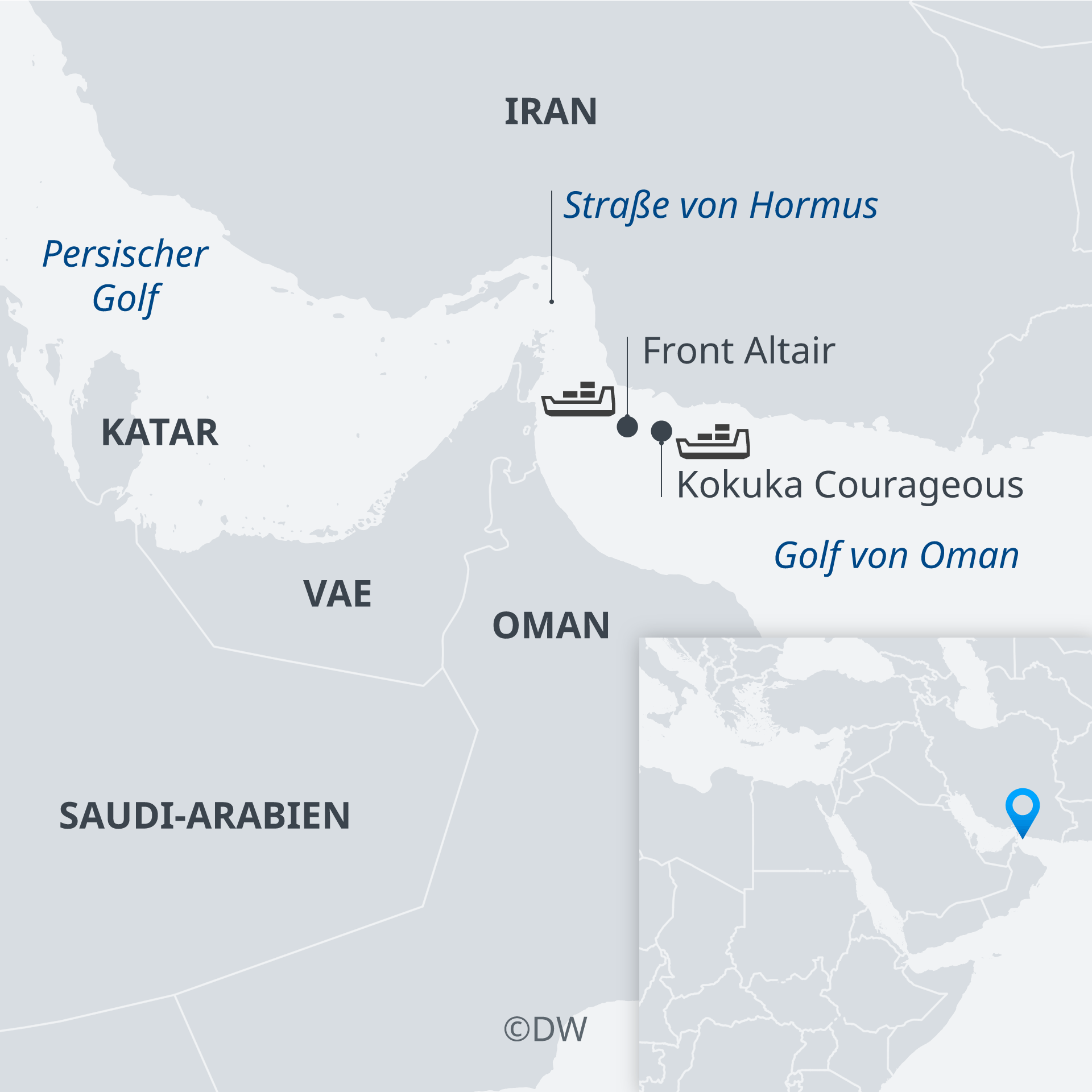 Karte Tanker angeschossen Golf von Oman DE