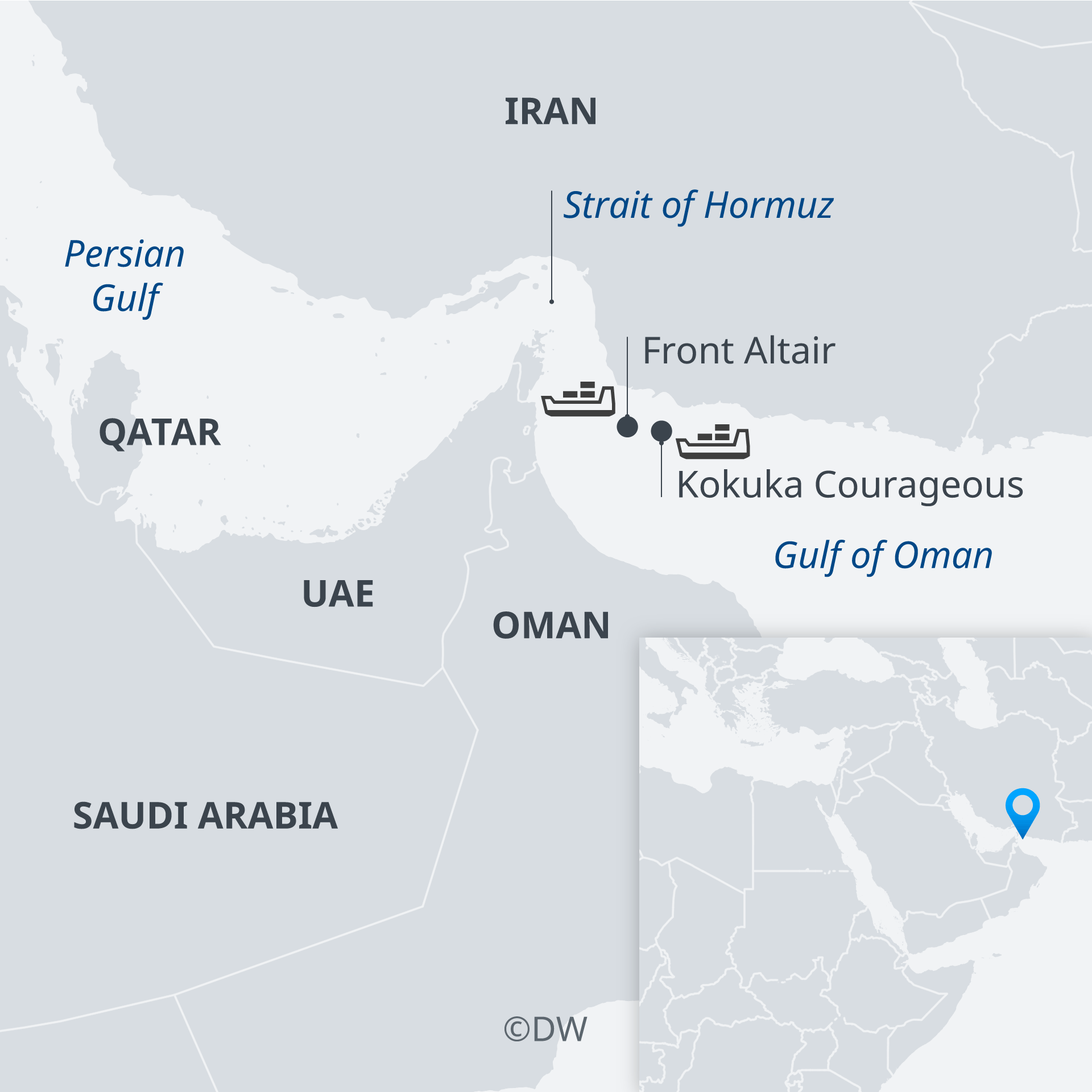 Map showing where attacks took place in Strait of Hormuz