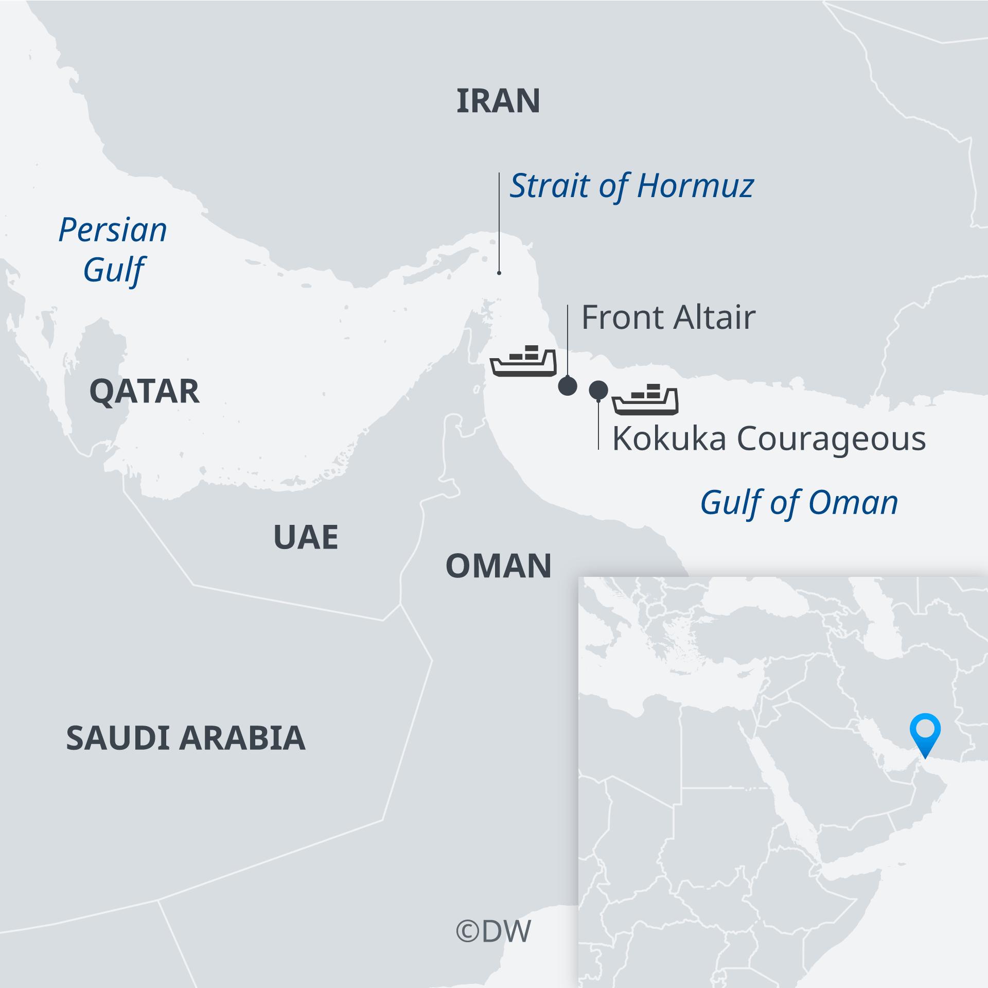 Karte Tanker angeschossen Golf von Oman EN