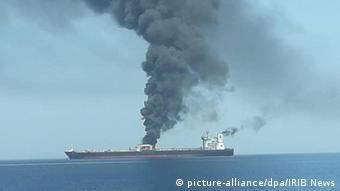 یکی از نفتکشهای آسیب دیده در دریای عمان