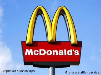 McDonald's yellow arches on red