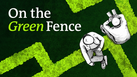 The On the Green Fence podcast cover shows two people sitting on a fence