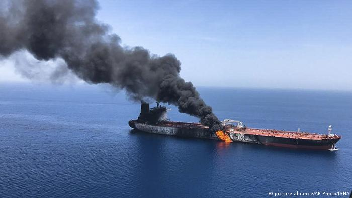 The oil tanker Front Altair on fire in the sea of Oman