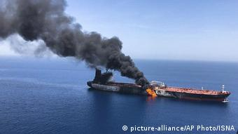 Один из взорванных танкеров в Оманском заливе, 13 июня 2019 года