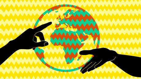 DW Podcast Explica-me... portugisisch Illustration Weltkugel