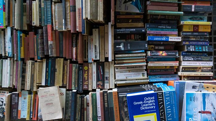 Second-hand books for sale at Leonidas Koursomis' book store