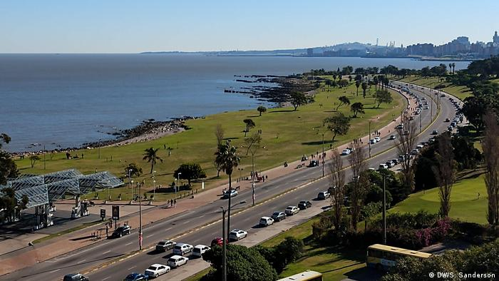 Waterfront main road with city-scape in the background - Montevideo