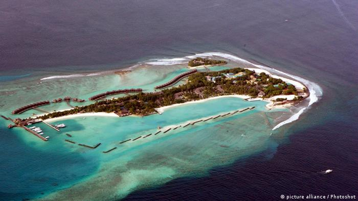 The low-lying Maldives island viewed from the air