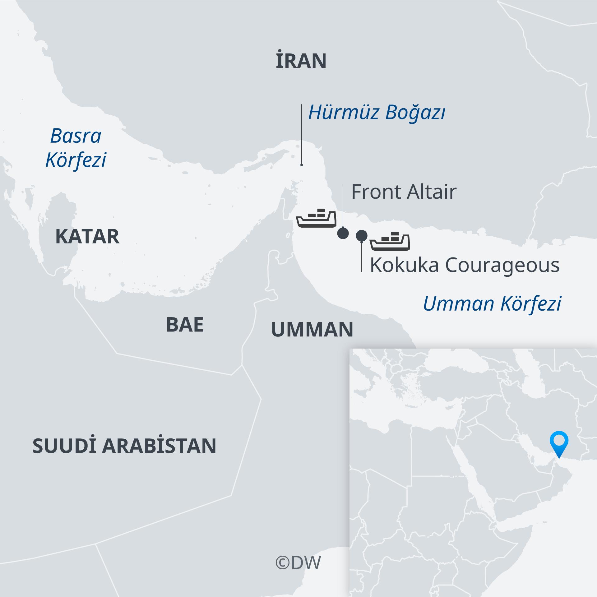 Karte Tanker angeschossen Golf von Oman TR