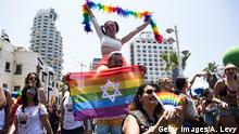 TEL AVIV, ISRAEL - JUNE 14: Revellers take part in the annual Gay Pride Parade on June 14, 2019 in Tel Aviv, Israel. Tens of thousands of Israelis and tourists packed the streets of Tel Aviv for the annual LGBT pride march (Photo by Amir Levy/Getty Images)