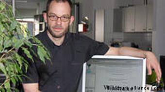 A picture of Daniel Schmitt, a member of the Wikileaks team, with his computer