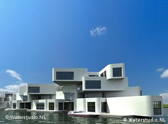A picture of an apartment complex that floats on the water surface