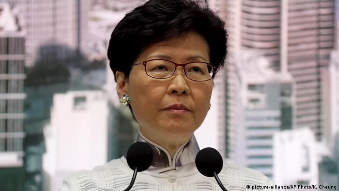Carrie Lam at a news conference in Hong Kong