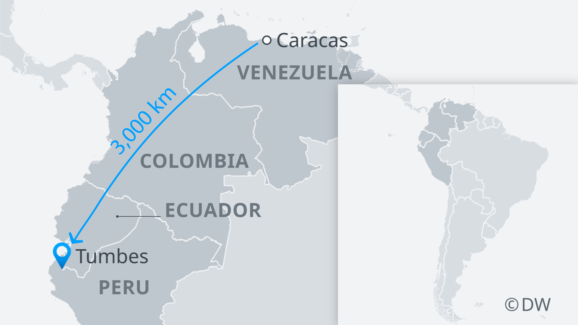 A map of northeast South America showing refugee route from Venezuela to Peru