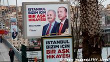 Türkei Istanbul | Wahlplakate: Tayyip Erdogan, Binali Yildirim