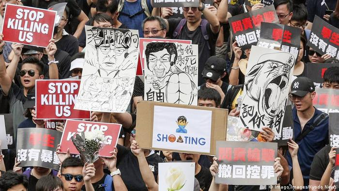 Hong Kong citizens protest against a controversial extradition bill
